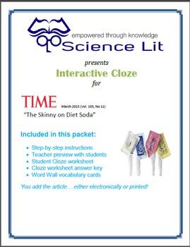 Science Literacy Interactive CLOZE:  Artificial Sweetener.