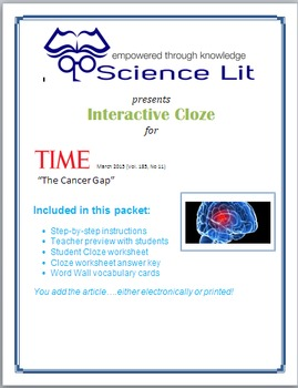 Science Literacy Interactive CLOZE:  Brain Cancer Oncology