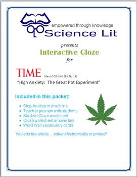 Science Literacy Interactive CLOZE:  The Effects of Legalizing Marijuana?