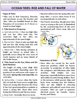 Science Literacy Reading Article:- OCEAN TIDES: RISE AND FALL OF WATER