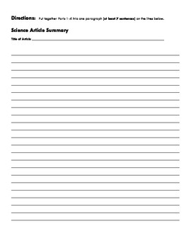 Science Literacy Homework Template : Nonfiction Article Analysis Plug and Print!