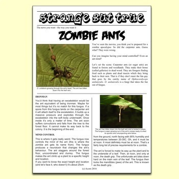 Science Literacy Sub Plan - The Strange Truth About Zombie Ants