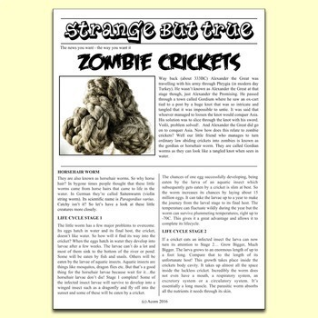 Science Literacy Science Sub Plan - The Strange Truth About Zombie Crickets