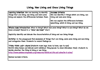 Science: Living, Non Living and Once Living Things Activity
