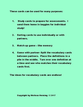 Science Living Systems Adaptations Interactive Vocabulary Cards Game Activity