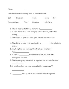 Science Living Things Unit Test