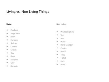 Science: Living vs. Non Living Things