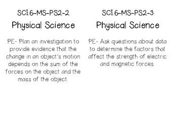 Science Louisiana Grade 6 Performance Expectation GLE standard cards