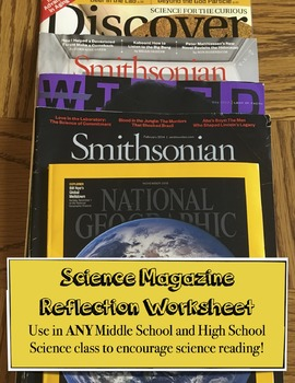Science Magazine Reflection Worksheet - Middle and High School