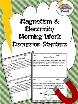 Science Magnetism and Electricity Morning Work Discussions Activities Prompts