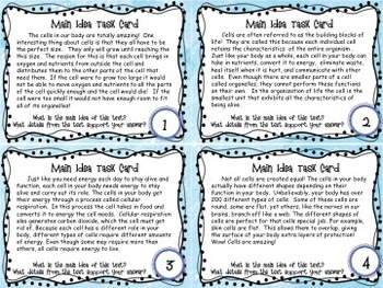 Science Main Idea Task Card Activity Pack
