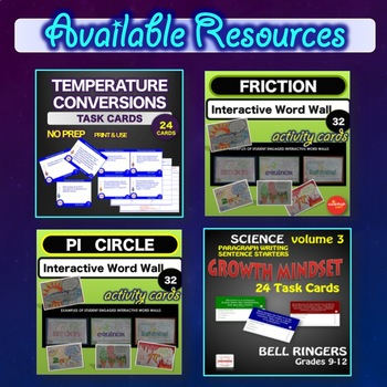Science Math STEM Temperature Conversion Activities NO PREP with ANSWER key