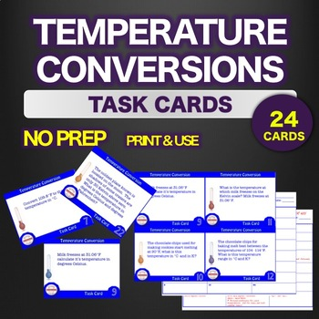 NO PREP Science TASK CARDS Temperature Conversion STEM - ANSWER key