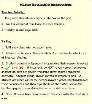 Science Matter Battleship SMARTboard Game for 5th Grade VA SOL 5.4
