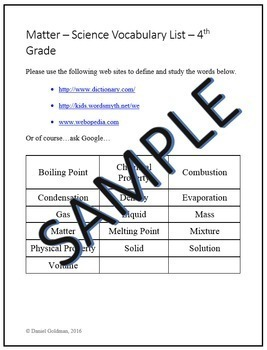 Science - Matter Vocabulary Quiz and Word List