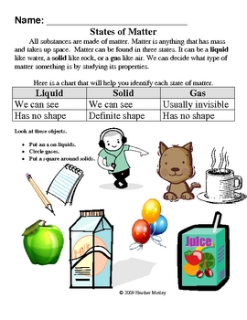 Science : Matter: Solids, Liquids and Gases