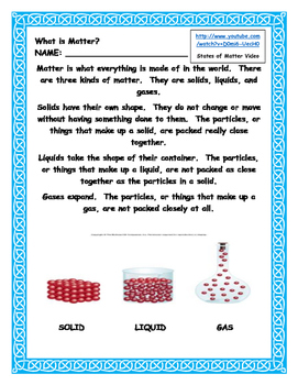 Science Matter Unit for Second Grade (Common Core Aligned)