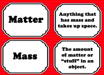 Science Matter Vocabulary Cards - Task Cards, Flashcards, Games, Memory