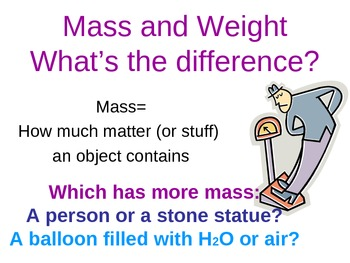 Science (Measurement): Mass, Weight, Volume (PowerPoint interactive notes)