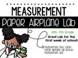 Science Measurement Paper Airplane Lab