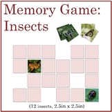 Science Memory Game: Insects with Vibrant Color Photograph