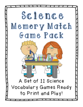 Science Memory Match Games: Set of 11 Science Vocabulary Games!