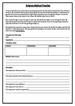 Science Method Worksheet