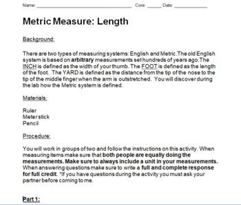 Metric System Length Lab + Worksheet