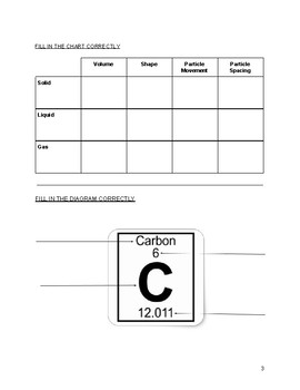 Science-Mixtures, Change of State, Element, & States of Matter Test With Answers