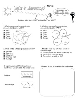 Light is Amazing - lesson plan and worksheets
