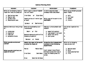 Science Morning Work Packet