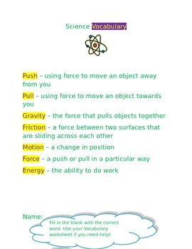 Science Motion Vocabulary and Worksheet