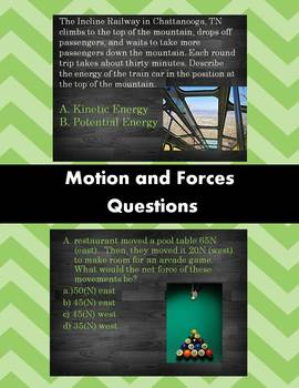 Middle School Science Motion and Forces Multiple Choice Questions
