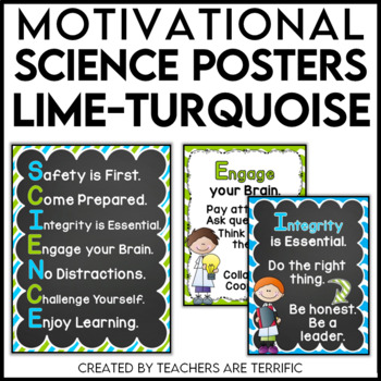 Science Motivational Posters in Lime and Turquoise