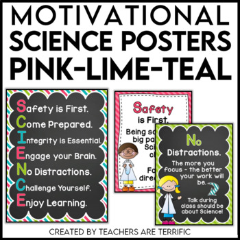 Science Motivational Posters in Pink, Lime, and Teal