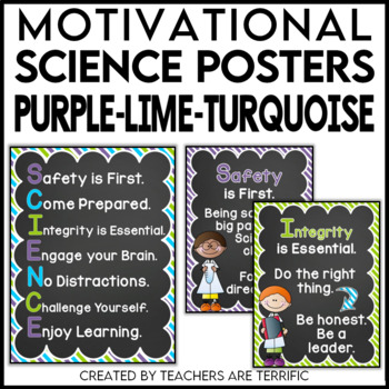 Science Motivational Posters in Purple, Lime, and Bright Turquoise