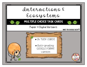 Science Multiple Choice Task Cards - Interactions and Ecosystems
