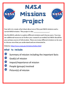 Science - NASA Missions Project - NASA Space Project - Editable