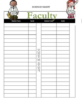 Science Night-Faculty Sign in Sheet