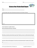 Science Non-Fiction Book Report  Form    Common Core Book Write Up Page
