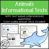 Animals: Informational Paragraphs with Comprehension Questions