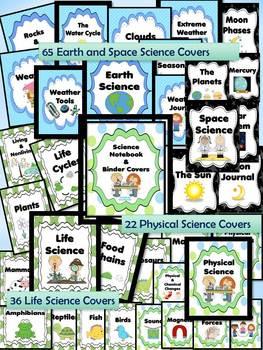 Science Skills Notebook Organization Set- 135 Binder Covers/Dividers