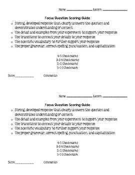 Science Notebook Checklist