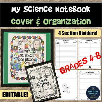 Science Notebook Cover and Organization with 4 Sections and Dividers EDITABLE