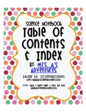 Science Notebook Table of Contents and Index