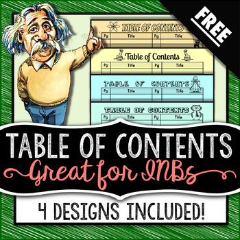 Table of Contents - Science Interactive Notebook - FREE