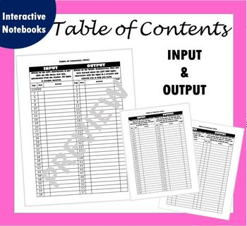 Science Notebook - Table of Contents (Left Side Input, Right Side Output)