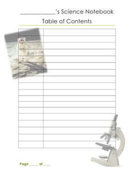Science Notebook: Table of Contents