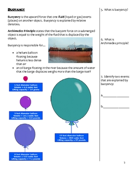 Middle School Physical Science Notes - Density and Buoyancy