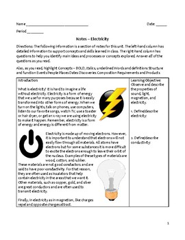 Middle School Physical Science Notes - Electricity